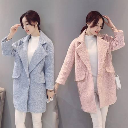 JEANE-SUNP 2016秋冬女装新款长袖纯色时尚毛呢外套女修身大码中长款呢子大衣