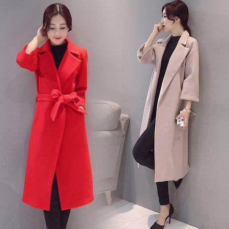 JEANE-SUNP 2016冬季新款翻领长袖纯色中长款欧美羊大衣毛呢外套女装