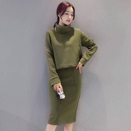 JEANE-SUNP 2016年冬季新款韩版甜美优雅显瘦修身中腰时尚潮流套装套裙配胸针