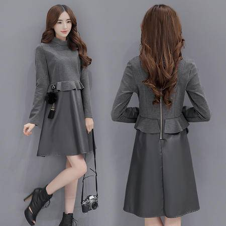 JEANE-SUNP 2016年冬季韩版新款长袖中长款纯色甜美圆领中腰修身连衣裙女潮