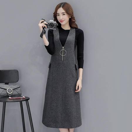 JEANE-SUNP  2016新款秋冬韩版连衣裙两件套气质修身时尚套装女显瘦长裙背心裙