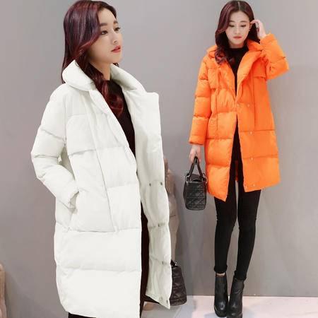JEANE-SUNP 2016年冬季中长款时尚修身纯色优雅潮流棉服