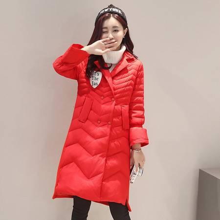 JEANE-SUNP 2016年冬季时尚纯色中长款潮流优雅羽绒服