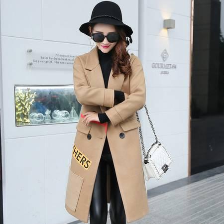 臣韵 2016秋冬新款女装韩国毛呢外套中长款时尚拼色翻领羊毛呢子大衣