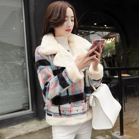 JEANE-SUNP 冬装新款羊羔毛短款毛呢外套女韩版加厚修身配毛领外套女短款显瘦