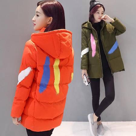 JEANE-SUNP 2016年冬季新款韩版棉衣棉服修身印花中款长袖简约连帽大衣