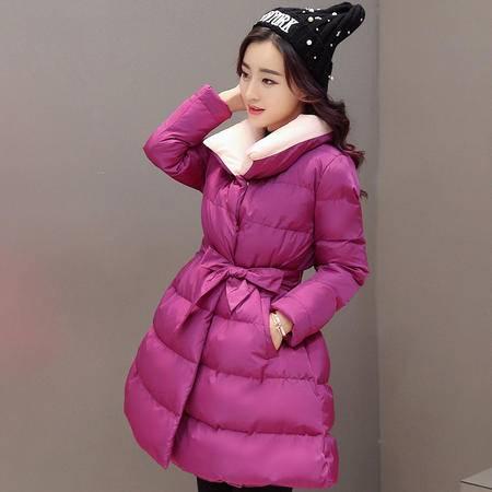 JEANE-SUNP 2016冬装新款韩版气质潮流修身裙摆款女装棉衣羽绒棉服配腰带外套