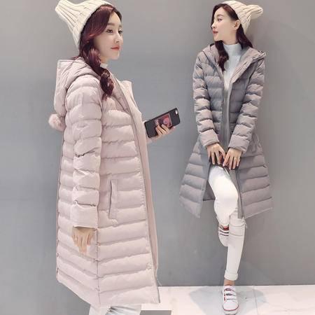 JEANE-SUNP 2016年冬季时尚优雅中长款棉服 潮流宽松长袖棉衣