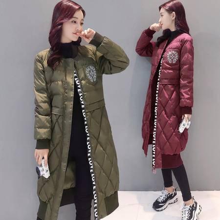 JEANE-SUNP 2016年冬季韩版时尚中长款潮流棉衣宽松优雅棉服