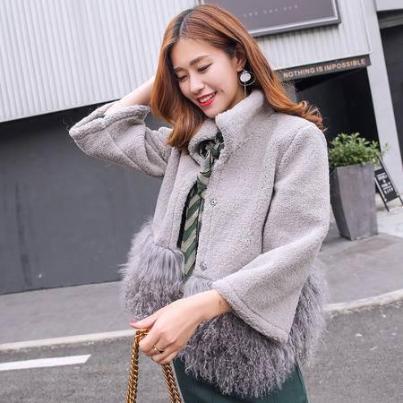 JEANE-SUNP 2016冬季时尚新款长袖短款立领优雅百搭羊羔毛外套灰色