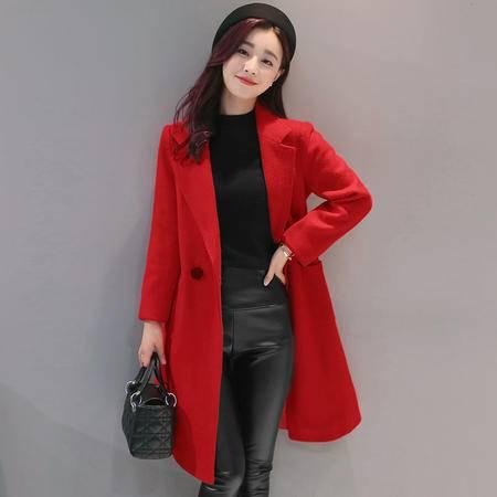 臣韵 2016秋冬季新款韩版女装修身时尚大衣中长款毛呢外套女西装潮显瘦