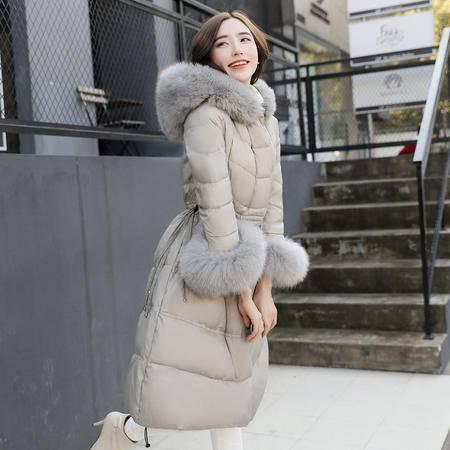 臣韵 2016年冬季中长款直筒长袖羽绒服纯色连帽显瘦大毛领袖口羽绒服
