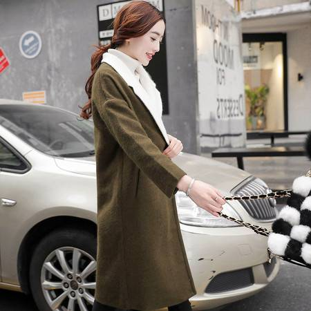 JEANE-SUNP 2016冬新款韩版显瘦时尚双排扣中长款翻领羊毛呢子大衣