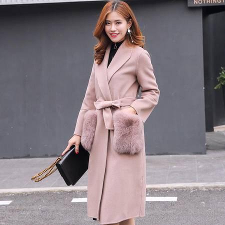 JEANE-SUNP 2016冬装新品长款过膝呢子大衣女韩版修身显瘦收腰毛呢外套