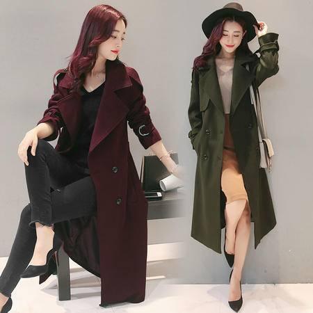 JEANE-SUNP 2016秋冬新款韩版修身加厚长款呢子大衣女超长加棉羊毛呢外套冬天
