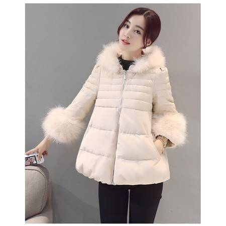 JEANE-SUNP 2016冬装新款棉衣女短款韩版时尚毛领大码加厚修身显瘦棉服外套潮