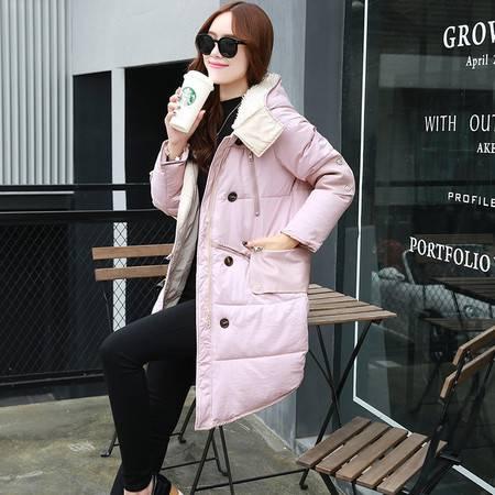 臣韵 2016冬装新款韩版女装连帽棉袄加厚保暖棉服时尚中长款棉衣外套女