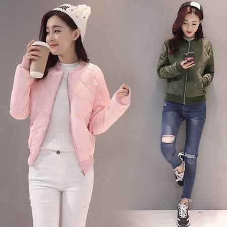 JEANE-SUNP 2016年冬季修身短款时尚棉衣纯色优雅棉服