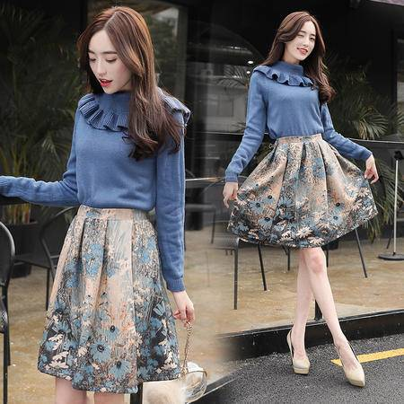 JEANE-SUNP 2016年冬季宽松中长款时尚优雅韩版套裙