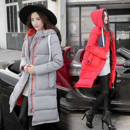 JEANE-SUNP 2016年冬季长袖加厚直筒棉衣拉链连帽纯色棉服