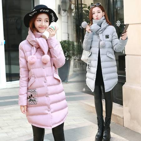 JEANE-SUNP 2016冬装新款韩版时尚学院风棉服气质修身立领学生羽绒棉服女中款
