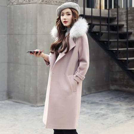 JEANE-SUNP 2016年冬季中长款长袖时尚毛呢外套宽松暗扣韩版外套