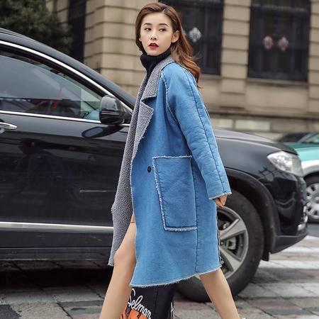 JEANE-SUNP 2016冬季韩版新款加厚中长款羊羔毛外套冬天学生牛仔加绒棉衣女装