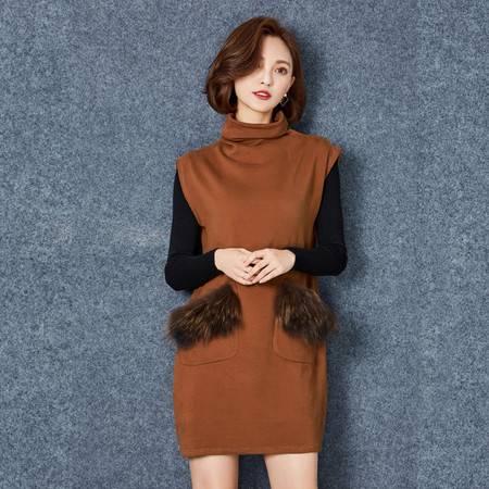 JEANE-SUNP 2016冬季打底衫无袖高领两件套连衣裙女显瘦韩版气质针织裙套装潮