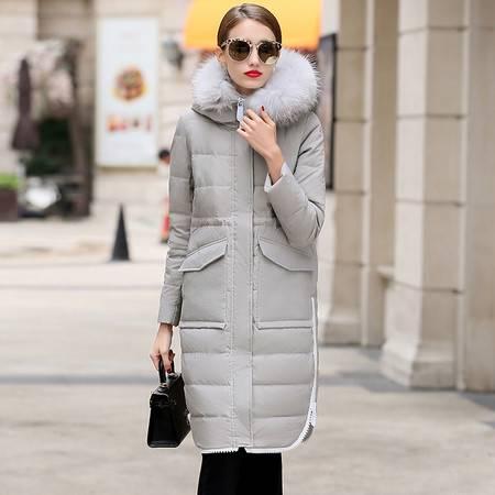 JEANE-SUNP 2016欧美羽绒大衣冬季新款连帽直筒拉链中长款保暖羽绒服貉子毛领