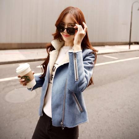 JEANE-SUNP 2016秋冬韩版女装短款羊羔毛外套修身显瘦麂皮绒皮毛一体棉衣外套
