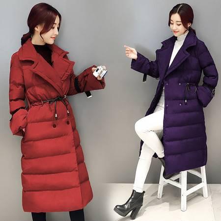 JEANE-SUNP 冬装新款中长款过膝棉衣女修身翻领加厚羽绒棉服喇叭袖外套潮棉袄