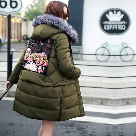 JEANE-SUNP 2016冬装外套女韩版直筒宽松加厚印花棉衣超大毛领连帽羽绒棉服女