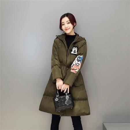 JEANE-SUNP 2016新款冬装韩版棉衣女中长款加厚系带棉袄修身显瘦学院风外套潮