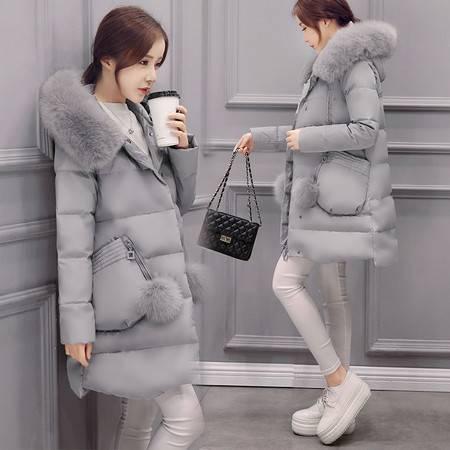 JEANE-SUNP 2016年冬款修身羽绒服女中长款韩版加厚大毛领外套时尚气质羽绒服