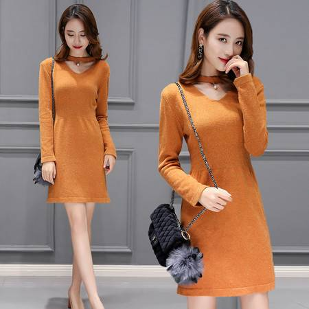 JEANE-SUNP 2016冬季长袖中长裙新款V领女装单件韩版甜美中腰修身纯色连衣裙