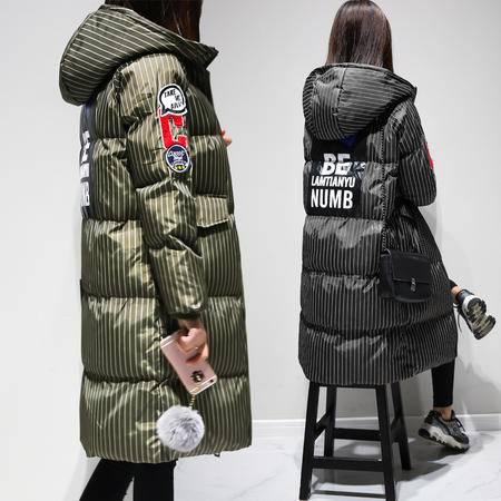 JEANE-SUNP 2016新款条纹加厚保暖棉衣外套女冬装新款学院风中长款棉服棉袄潮