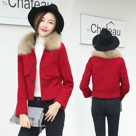 JEANE-SUNP 2016秋冬新款韩版羊毛呢外套女短款冬装真毛领修身加厚呢子大衣潮