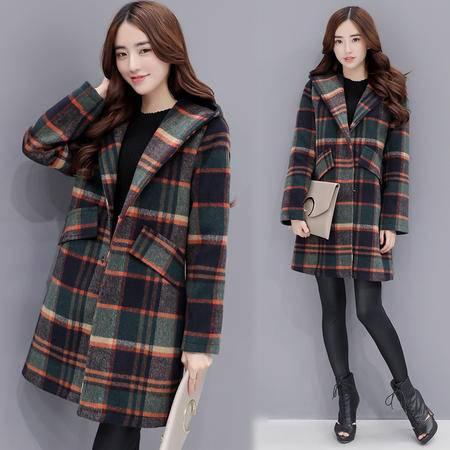 JEANE-SUNP 秋冬新款毛呢外套女韩版中长款气质宽松显瘦格子羊绒呢子大衣