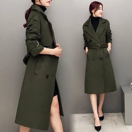 JEANE-SUNP 秋冬装韩版新款宽松军绿色时尚毛呢双排扣中长款羊绒大衣外套女潮