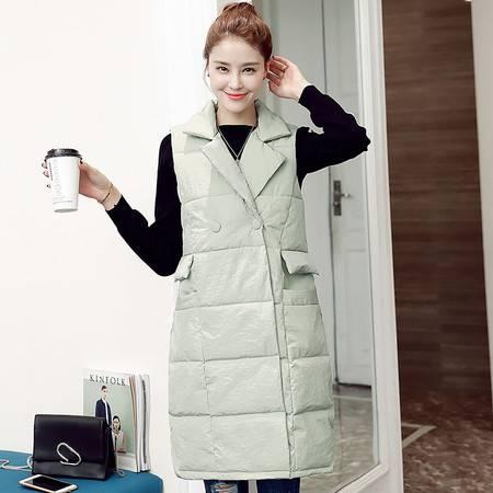 JEANE-SUNP 冬女装韩版宽松中长款羽绒棉马甲外套时尚棉背心