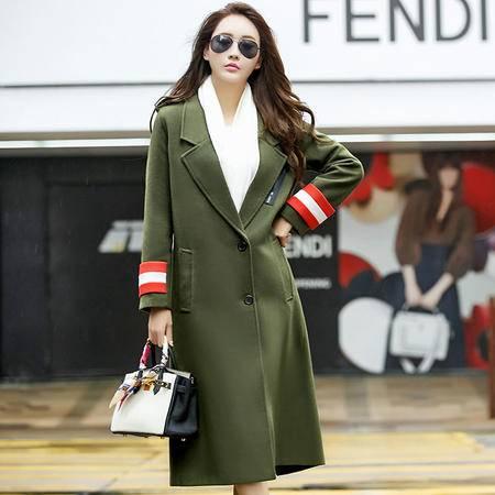 JEANE-SUNP 秋冬韩版呢子大衣女中长款修身时尚毛呢外套女装军装风呢子衣女潮(不加棉备注)