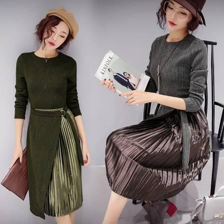 JEANE-SUNP 冬季新款韩版气质连衣裙中长款长袖修身显瘦打底裙子时尚潮