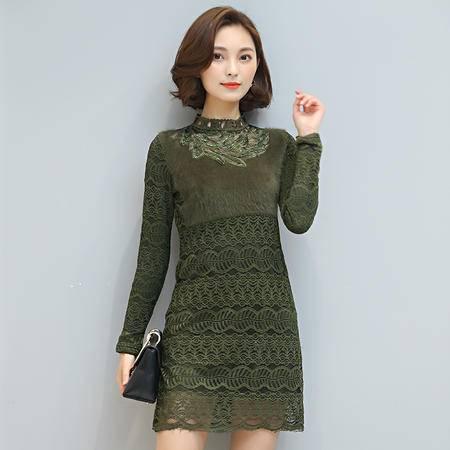 JEANE-SUNP 冬季韩版新款加绒长袖蕾丝拼接中长款打底连衣裙潮