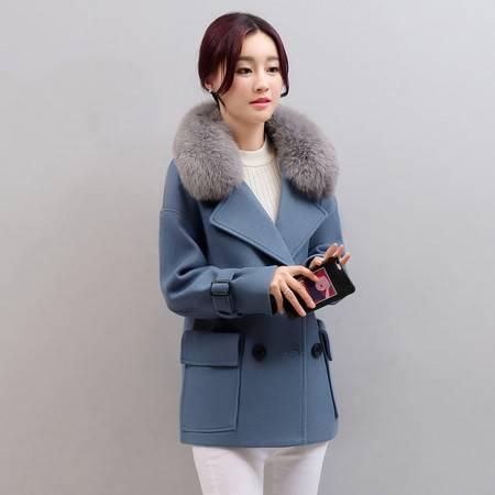 JEANE-SUNP 秋冬装韩版新款短款双排扣毛呢外套女冬季修身羊毛呢子大衣潮