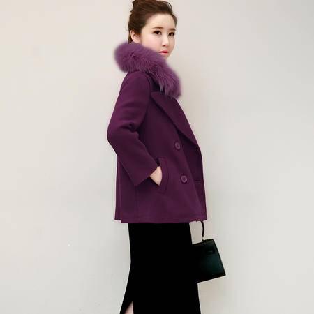 JEANE-SUNP 秋冬新款韩版气质毛领羊毛呢外套女短款修身显瘦呢子大衣