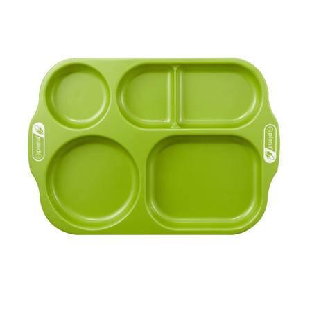 piena培安纳 韩国原装进口儿童玉米餐具分格餐盘子宝宝餐具绿色 可微波耐高温