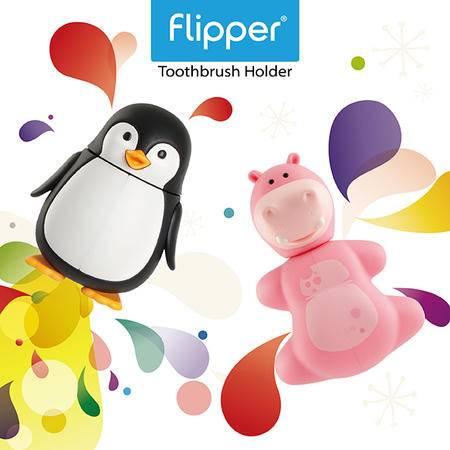 Flipper专利设计牙刷架Animal动物系列 企鹅河马2只装马来西亚原装进口