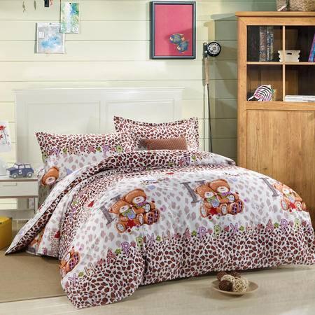 全棉环保印染床单式四件套-小熊之恋 适用1.5/1.8米床