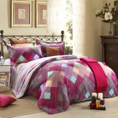 Clover Love床上用品全棉床单枕套被套AB版四件套-紫色梦想 包邮