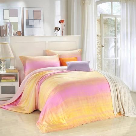 CloverLove床上用品高密优质天丝床单式AB版四件套-神采飞扬包邮